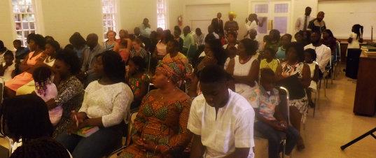 trinity ghanaian presbyterian members having a mass